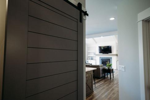 Custom Sliding Door in Mudroom