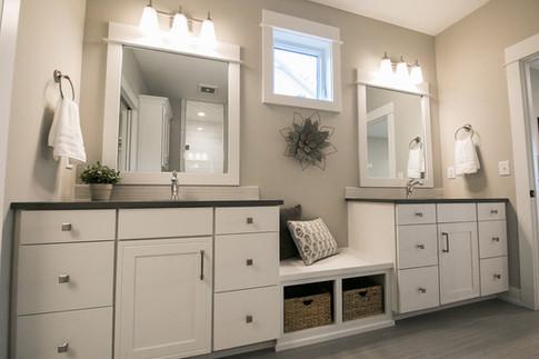 Bathroom cabinets in modern farmhouse