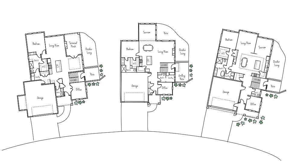 Floor plans of three of the stand-alone condominiums built in our recent project, The Villas at Whistlestop