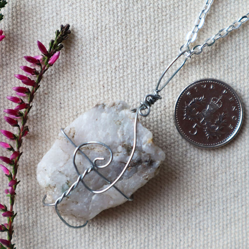 Snow Quartz Necklace-Spiral Centred