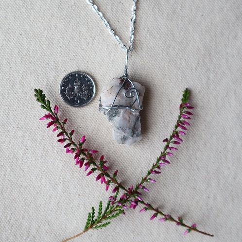 Snow Quartz Necklace-Rose and Grey Mottled