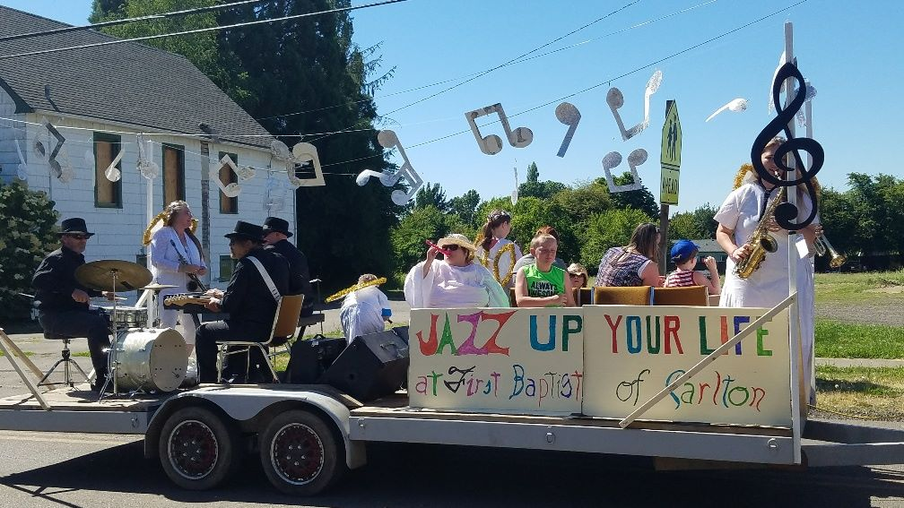 Annual church float for Carlton Fun Days.