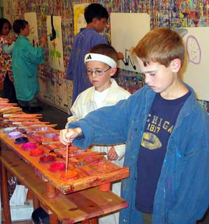 Two boys choosing colors