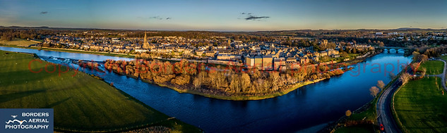 Aerial view of Kelso with the River Tweed, Scottish Borders