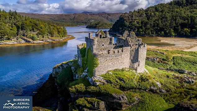 Drone shot Castle Tioram, Loch Shiel