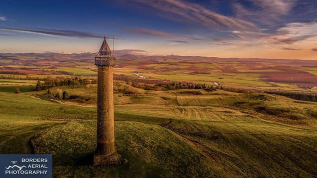 Aerial shot of Waterloo Monument, Scottish Borders