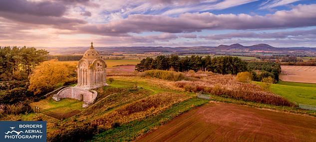 Drone shot of Monteath Mausoleum, near Ancrum, Jedburgh, Scottish Borders