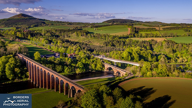 Aerial view of the three bridges at Leaderfoot, Scottish Borders