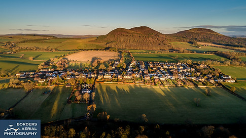 Aerial sunrise shot of Bowden, Scottish Borders