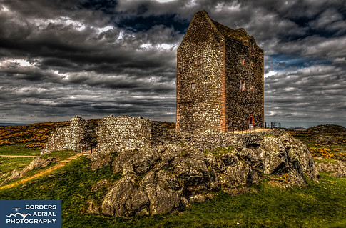 Aerial shot of Smailholm Tower, Kelso, Scottish Borders