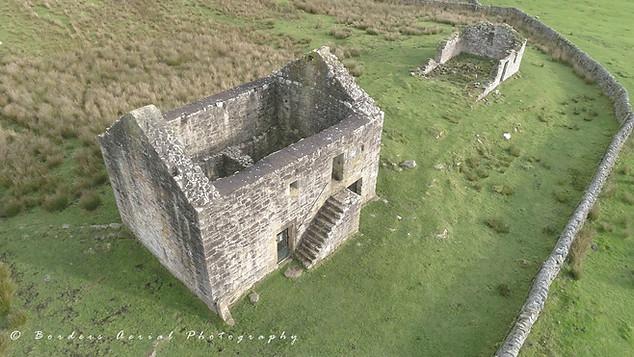 Drone footage of Black Middens Bastle, North Northumberland