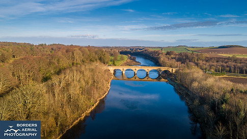 Coldstream Bridge and River Tweed aerial shot
