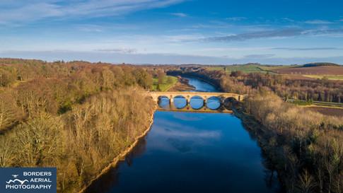 Coldstream Bridge and River Tweed aerial shot