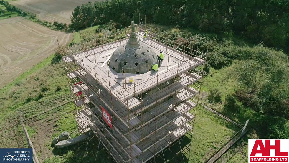 Drone footage of AHL Ltd Scaffolding at Monteath Mausoleum, Scottish Borders