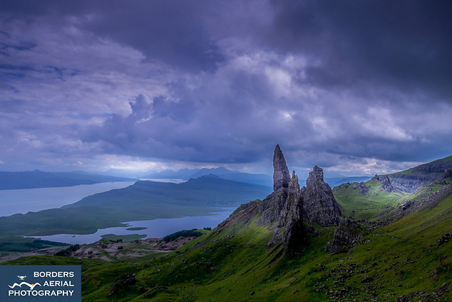 Aerial view of the Old Man of Storr, Isle of Skye, Scotland