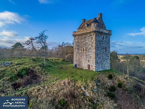 Drone shot of Fatlips Tower, Denholm, Scottish Borders