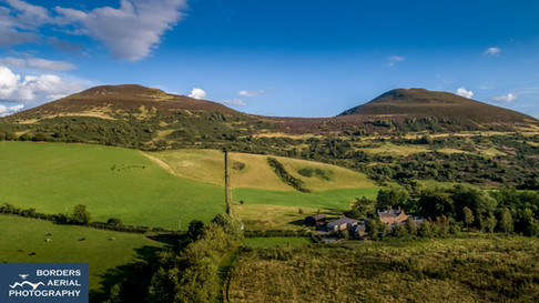 Aerial view of Eildon Holiday Cottages, Melrose Scottish Borders