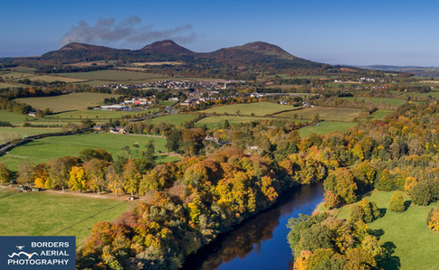 Drone view of Newtown St Boswells, Scottish Borders
