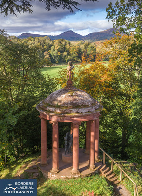 Aerial view of the Temple of the Muses, Dryburgh, Scottish Borders