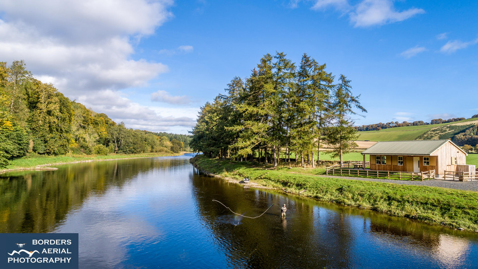 Aerial shot of Dryburgh Upper fishing beat on the River Tweed, Scottish Borders