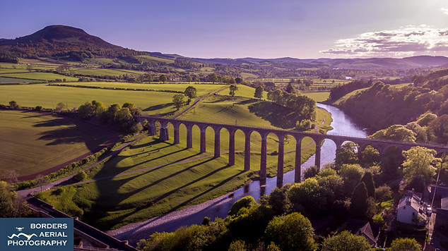 Drone view of Leaderfoot Bridge shadows, with the River Tweed, Scottish Borders