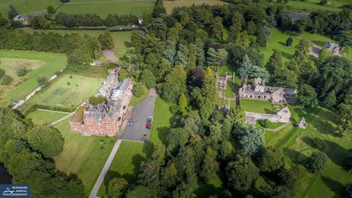 Aerial shot of Dryburgh Abbey & Dryburgh Abbey Hotel