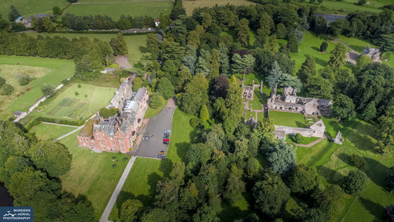 Aerial shot of Dryburgh Abbey & Dryburgh Abbey Hotel, Scottish Borders