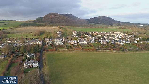 Bowden drone view, Scottish Borders