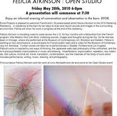 Félicia Atkinson - Open Studio - Friday, May 28th 6-8PM
