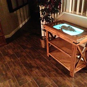 Illuminated Rustic Hall Table