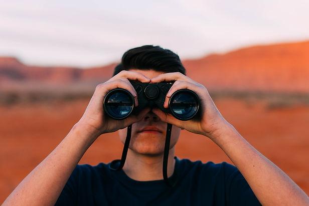 binoculars, man looking through binoculars, the future, vision, solar vision