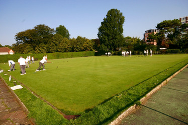 The upper green.  Gildredge Park Bowls Club has two greens, each with 6 rinks.