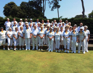 """Club members with """"Friends of Bowls England"""" before a match at Gildredge Park Bowls Club"""