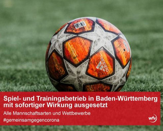 Spiel- und Trainingsbetrieb bis auf Weiteres ausgesetzt