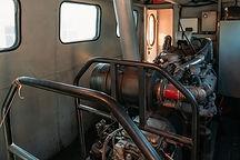Diesel engine inside the train locomotiv
