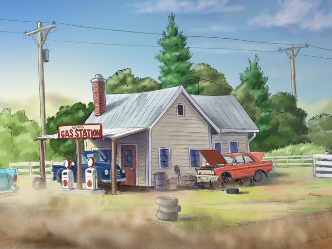 Old Gas Station background