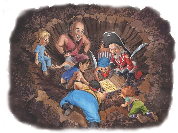 Pirates Digging for the Treasure (Watercolor)