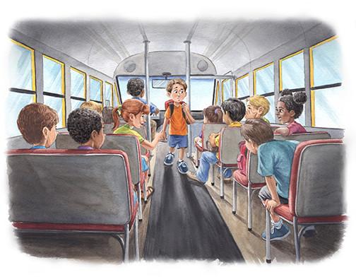 Ryan Boarding the Bus (Watercolor)