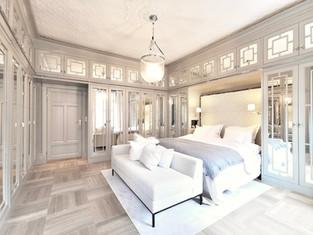Majestetisk soverom i Art Deco inspirert design