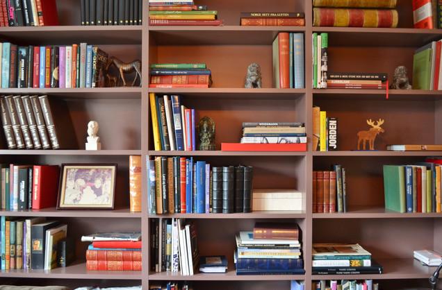 Utsnitt av hylla viser et mangfold av bøker i alle former