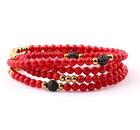 Design 4 TOURS BEADS BRACELET/NECKLACE - Red Coral