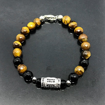 Men's Greek Column with Tiger Eye, Onyx Bracelet and Black CZ Diamonds