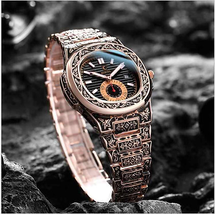 Men's Hand Engraved watch Gold Black and Black