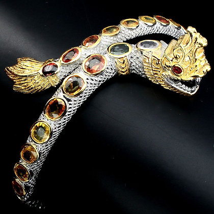 Tarcisio Via Collection Thai Dragon Bangle with Sapphire 925 Sterling Silver