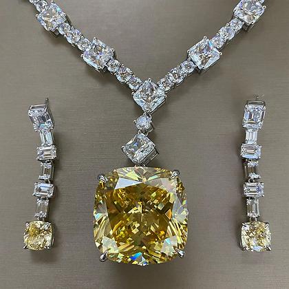 Stunning yellow CZ 128.54 carats Sparkling  Necklace OSCAR