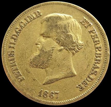 1867 GOLD BRAZIL 10,000 REIS 8.96 GRAMS PEDRO II COIN