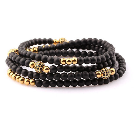 Design 4 TOURS BEADS BRACELET/NECKLACE - ONYX