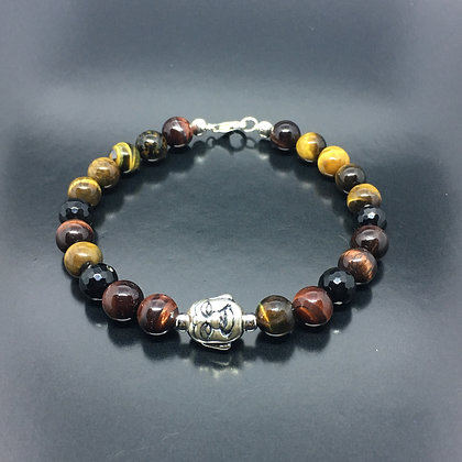 Men's Buddha Head Thai Sterling Silver with Tiger Eye, Bracelet
