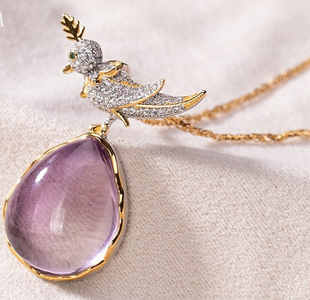 Tarcisio Via Natural Amethyst Bird on A Rock Pendant Necklace 18k gold over