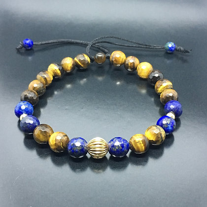 14K Gold Collection Tarcisio Via -14K Gold Thai Bead with Tiger Eye and Lapis